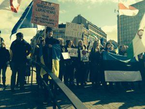 Protestas de un grupo de ucranianos la semana pasada en Bruselas