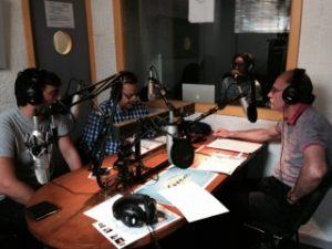 Marcos Collins en el estudio con Carlos Tejera y Josete Huedo